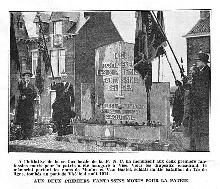 Le monument au 12e de Ligne à Devant-le-Pont/Visé en hommage à Maulus et Van Gastel du 12e de Ligne